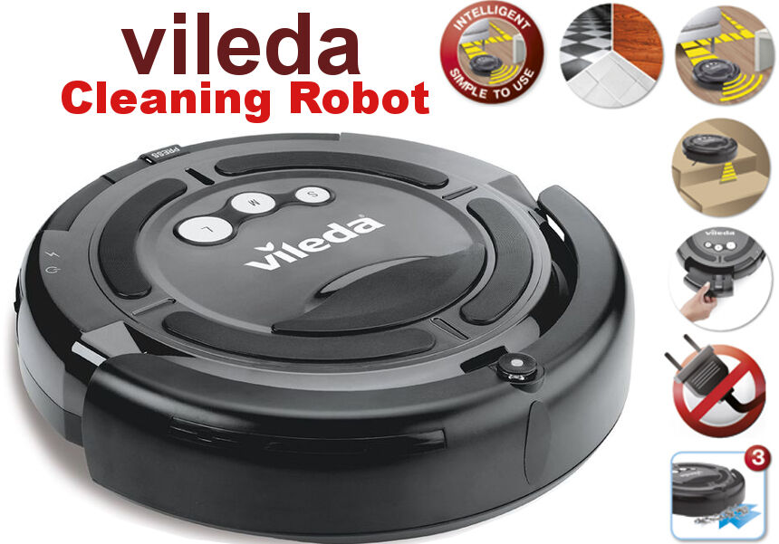 vileda cleaning robot akku vollautomatischer saugroboter staubsauger beutellos y ebay. Black Bedroom Furniture Sets. Home Design Ideas