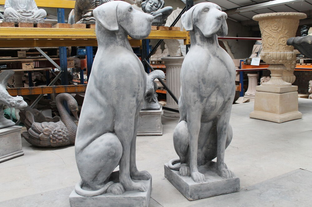 One Large Great Dane Stone Dog Garden Ornament Statues