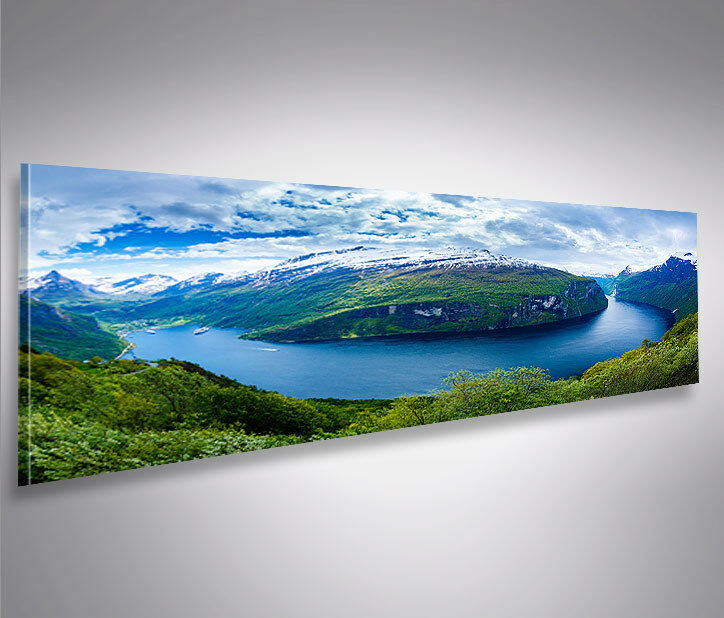 bild auf leinwand fjorde v2 norwegen panorama xxl poster leinwandbild wandbild ebay. Black Bedroom Furniture Sets. Home Design Ideas