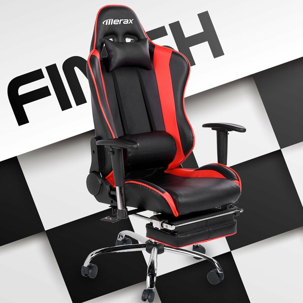merax high back pu leather executive racing gaming office chair computer desk ebay. Black Bedroom Furniture Sets. Home Design Ideas