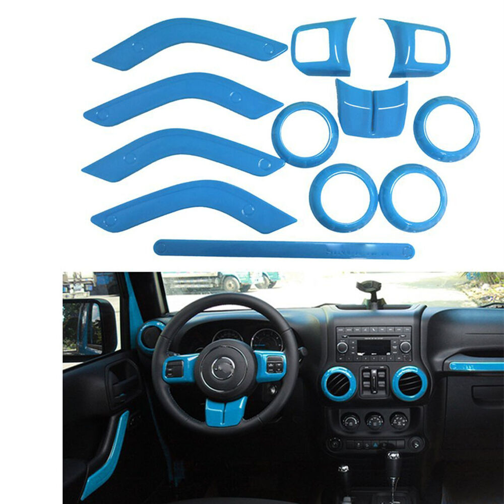Light blue interior accessories trims for jeep wrangler jk - Jeep wrangler unlimited interior lights ...