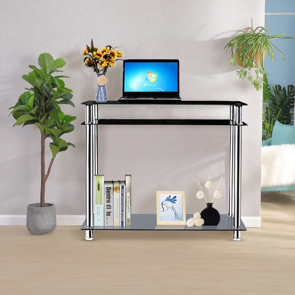 Black glass chrome console table large hall table modern for Miroir et console