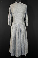 VERY RARE DEADSTOCK 1950'S FANCY GREY SPECKLED WOVEN  RAYON DRESS SIZE 8