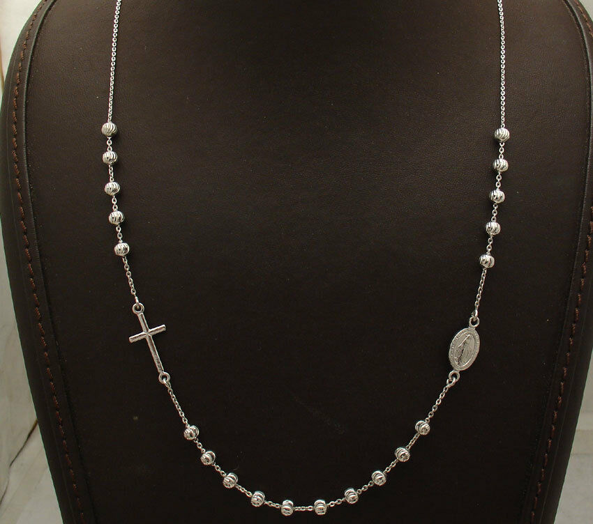 Adjustable Ball Bead Cross Rosary Chain Necklace Platinum