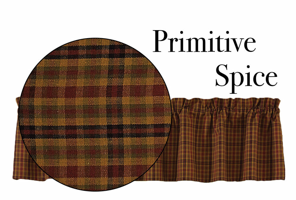 New Country Rustic Homespun Primitive Spice Plaid Wine