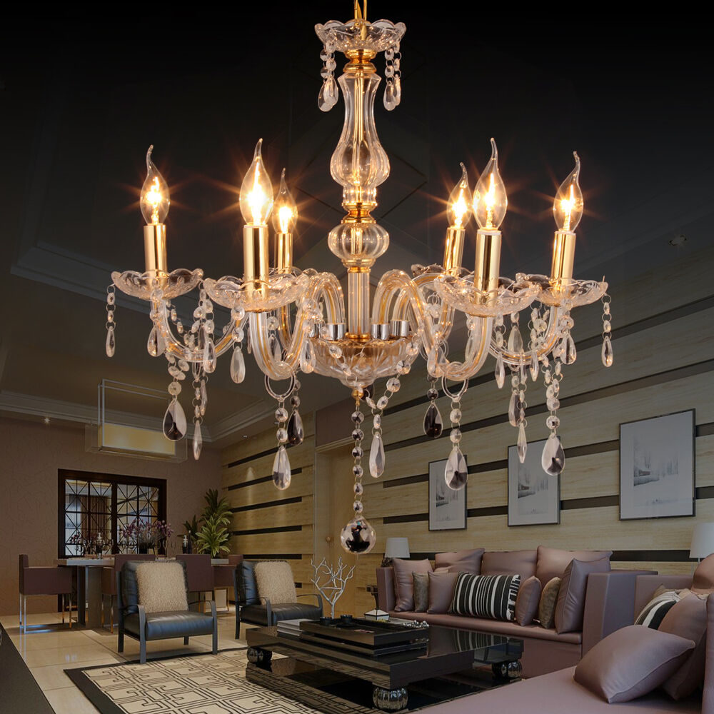 6 branches feux pampilles lustre verre cristal plafonnier lampe luminaire ebay. Black Bedroom Furniture Sets. Home Design Ideas