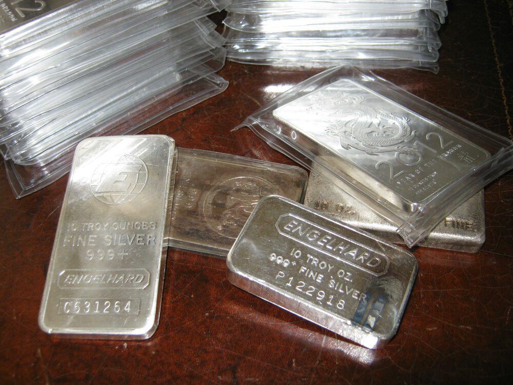 Lot Of 10 10 Ounce Random 999 Fine Silver Bar S 10oz