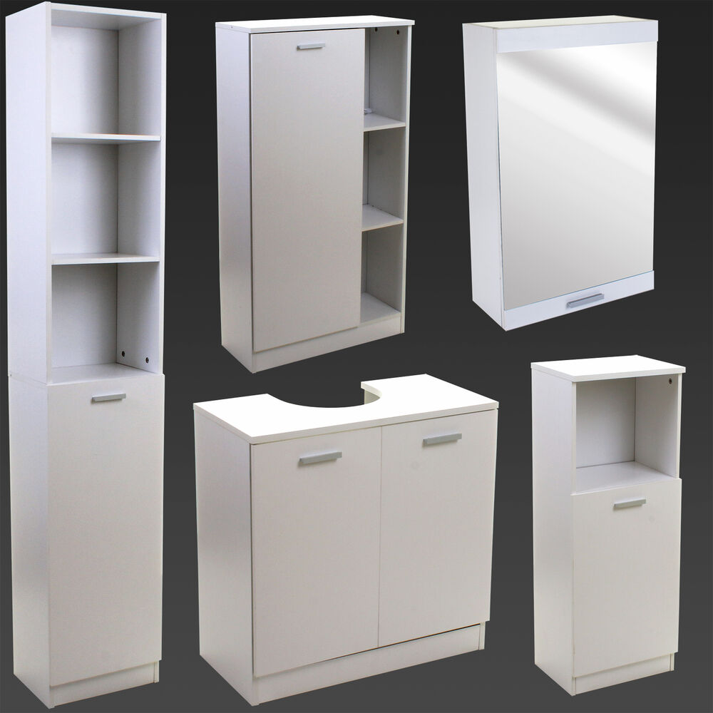 White Bathroom Furniture Storage Cupboard Cabinet Shelves Under Sink Basin Store
