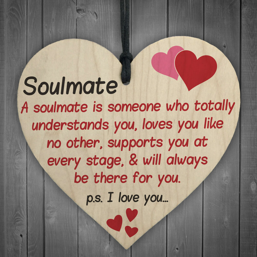 Love Finds You Quote: Soulmate I Love You Hanging Wooden Heart Valentines Day