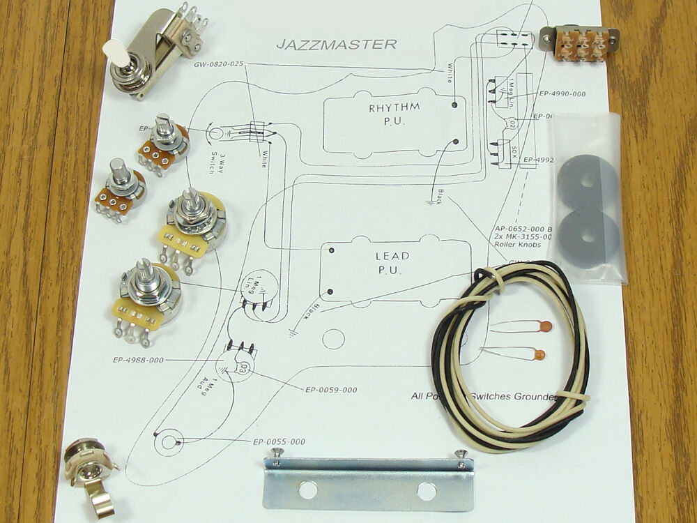 new jazzmaster pots switch wiring kit for fender guitar. Black Bedroom Furniture Sets. Home Design Ideas