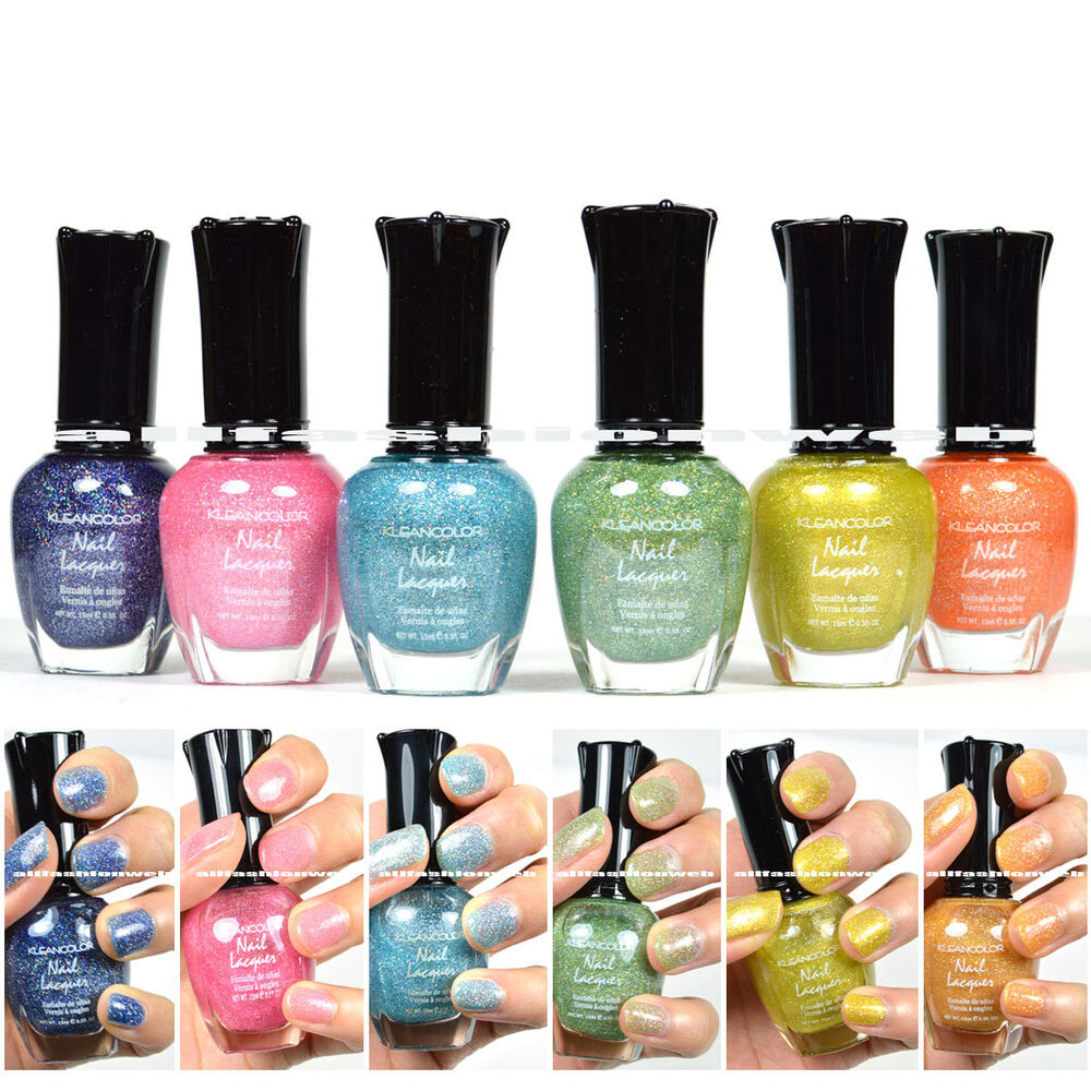6 FULL KLEANCOLOR HOLO COLLECTION COLORS NAIL POLISH