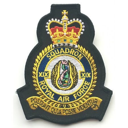 img-RAF No.19 Squadron Royal Air Force Embroidered Crest Badge Patch Official Crest