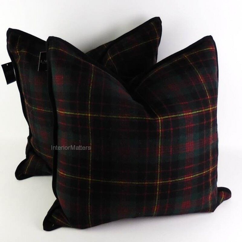 Black Plaid Throw Pillows : 2 RALPH LAUREN Tartan Plaid TOSS THROW PILLOWS pillow GREEN BLACK RED new eBay