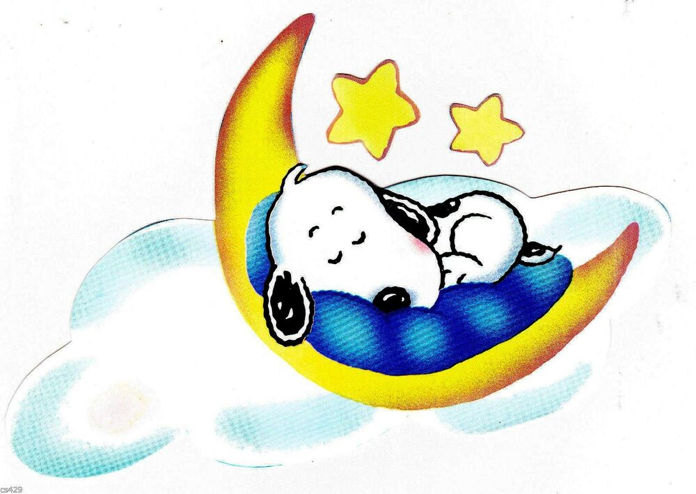 "7"" BABY SNOOPY ON MOON STAR SET CHARACTER PEEL STICK WALL ..."