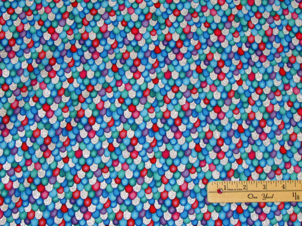 The rainbow fish scales baby kids fabric by the 1 2 yard for Kids fabric by the yard