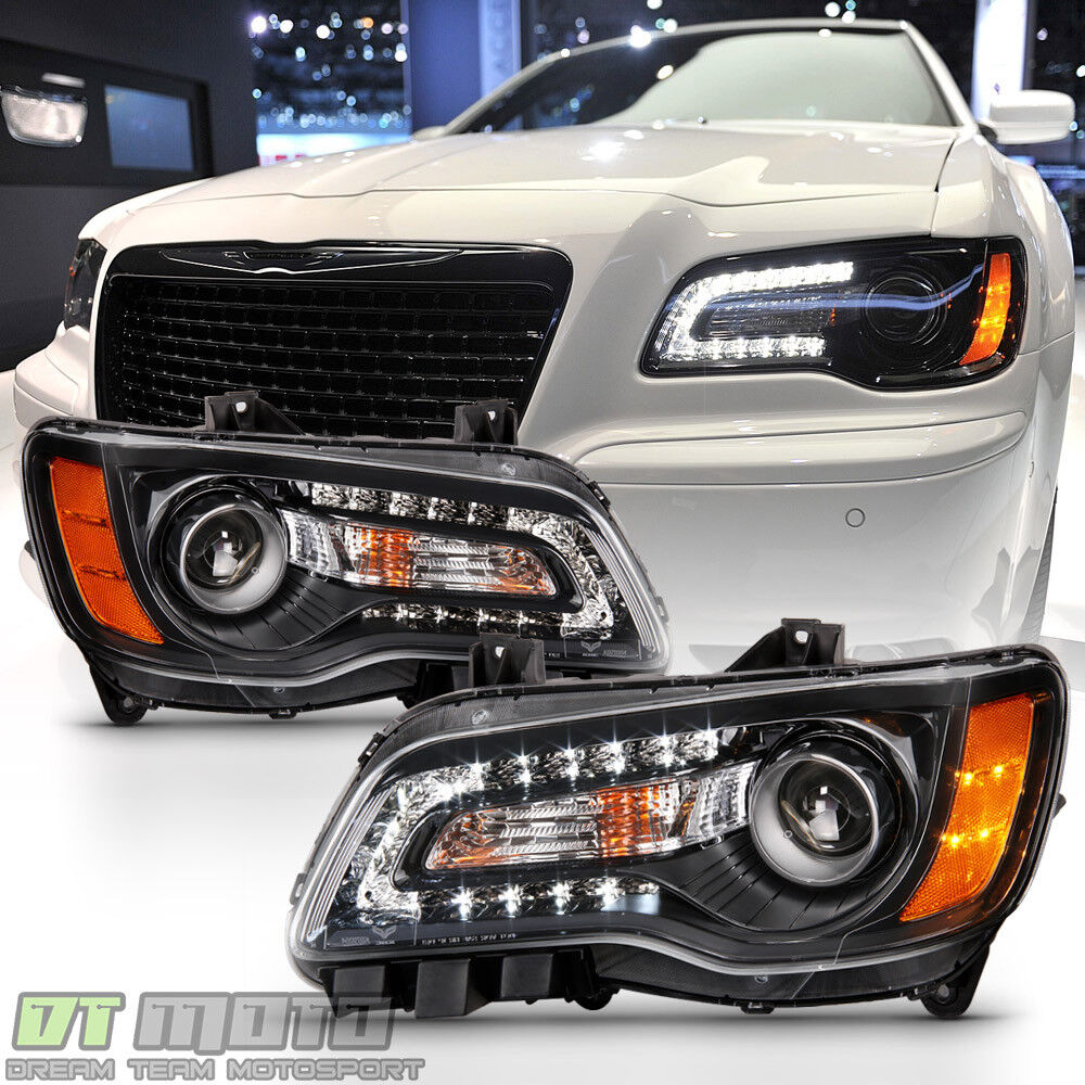 Chrysler 300c With Factory Halogen Headlights: Black Factory Style 2011-2014 Chrysler 300 Halogen LED DRL