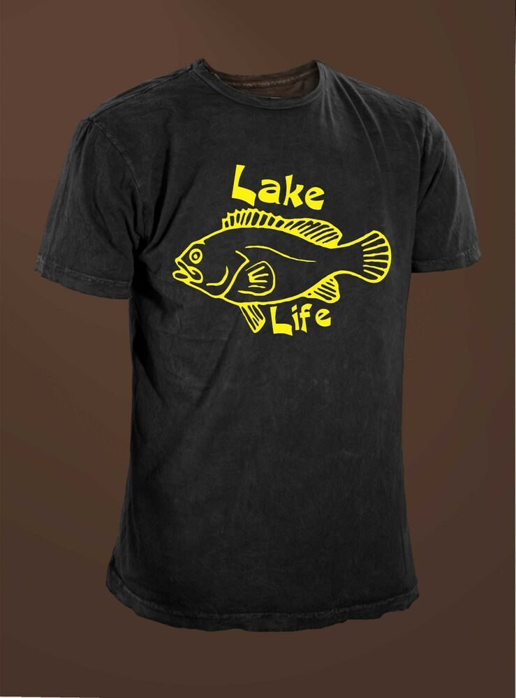 Lake life men 39 s funny fishing t shirt ebay for Funny fishing t shirts