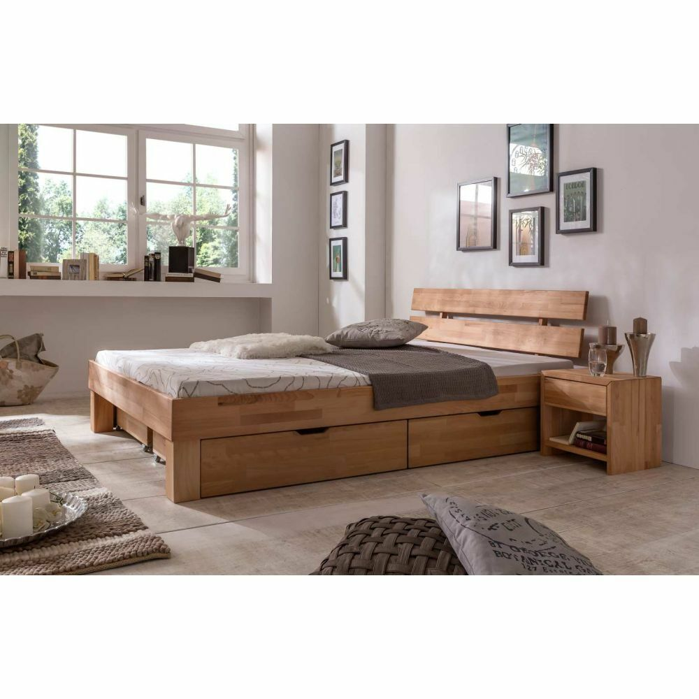 futonbett bett bettkastenset nachtkonsole jule kernbuche massiv ge lt neu ebay. Black Bedroom Furniture Sets. Home Design Ideas