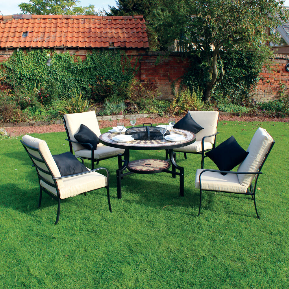Kingfisher Black Bronze Fire Pit Dining Mosaic Set With 4