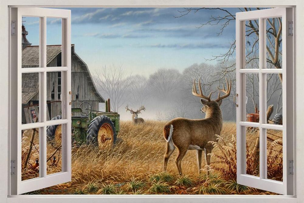 Autumn white tail deer window view decal wall sticker home for Deer wall mural