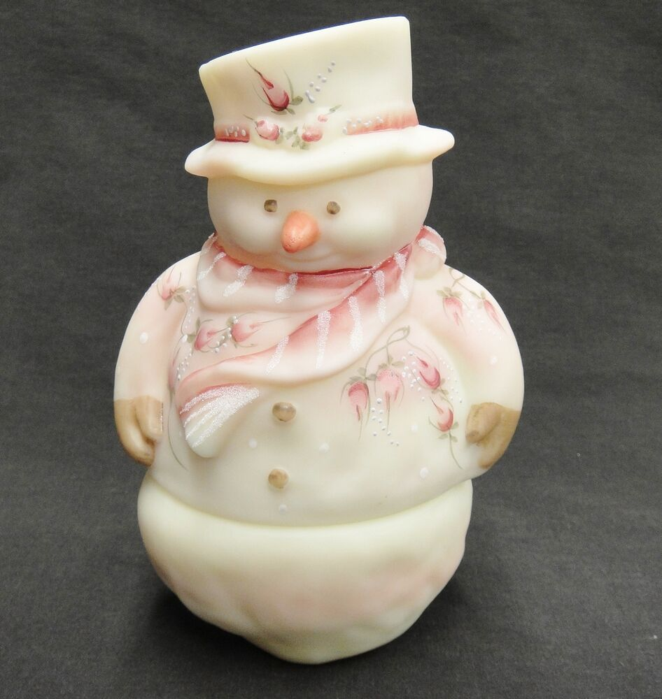Hand Painted Pink Snowman