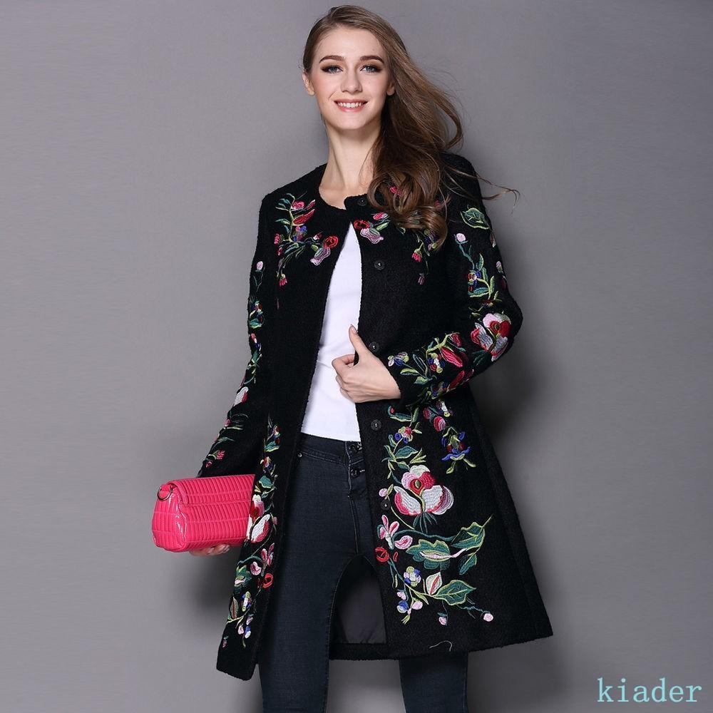 Womens Cashmere Wool Coat Embroidered Floral Cardigan