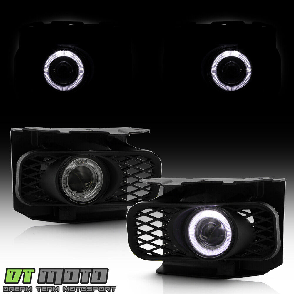 smoked 1999 2003 ford f150 99 02 expedition led halo projector fog lights switch ebay. Black Bedroom Furniture Sets. Home Design Ideas