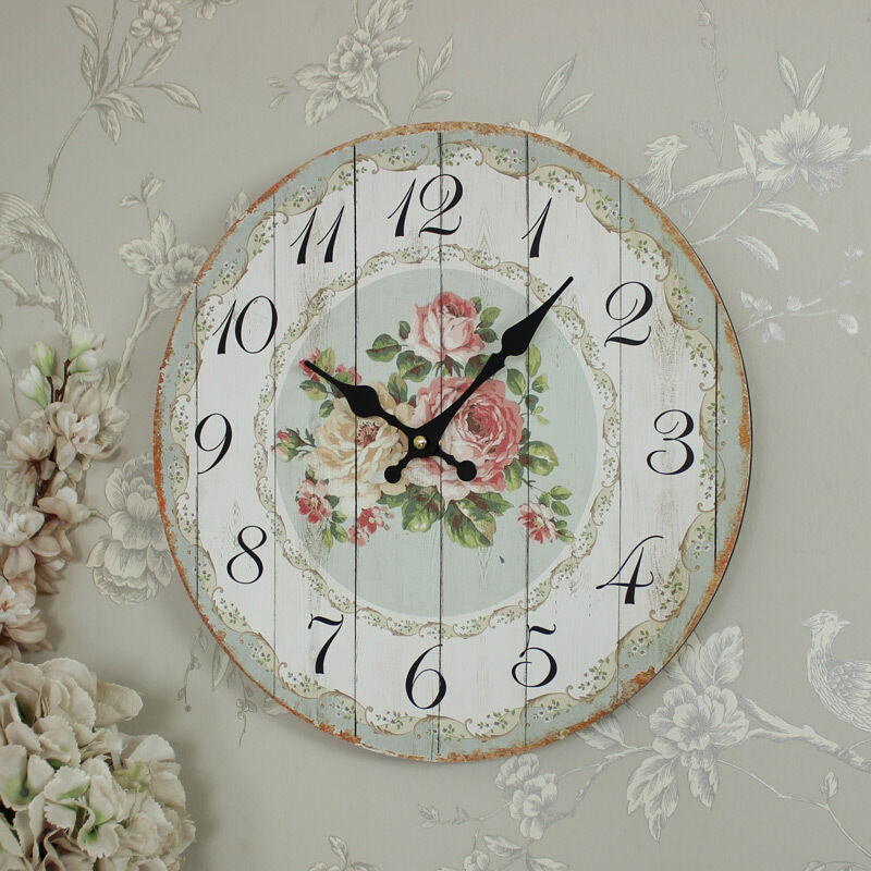 Wooden Country Cottage Style Rose Wall Clock Shabby