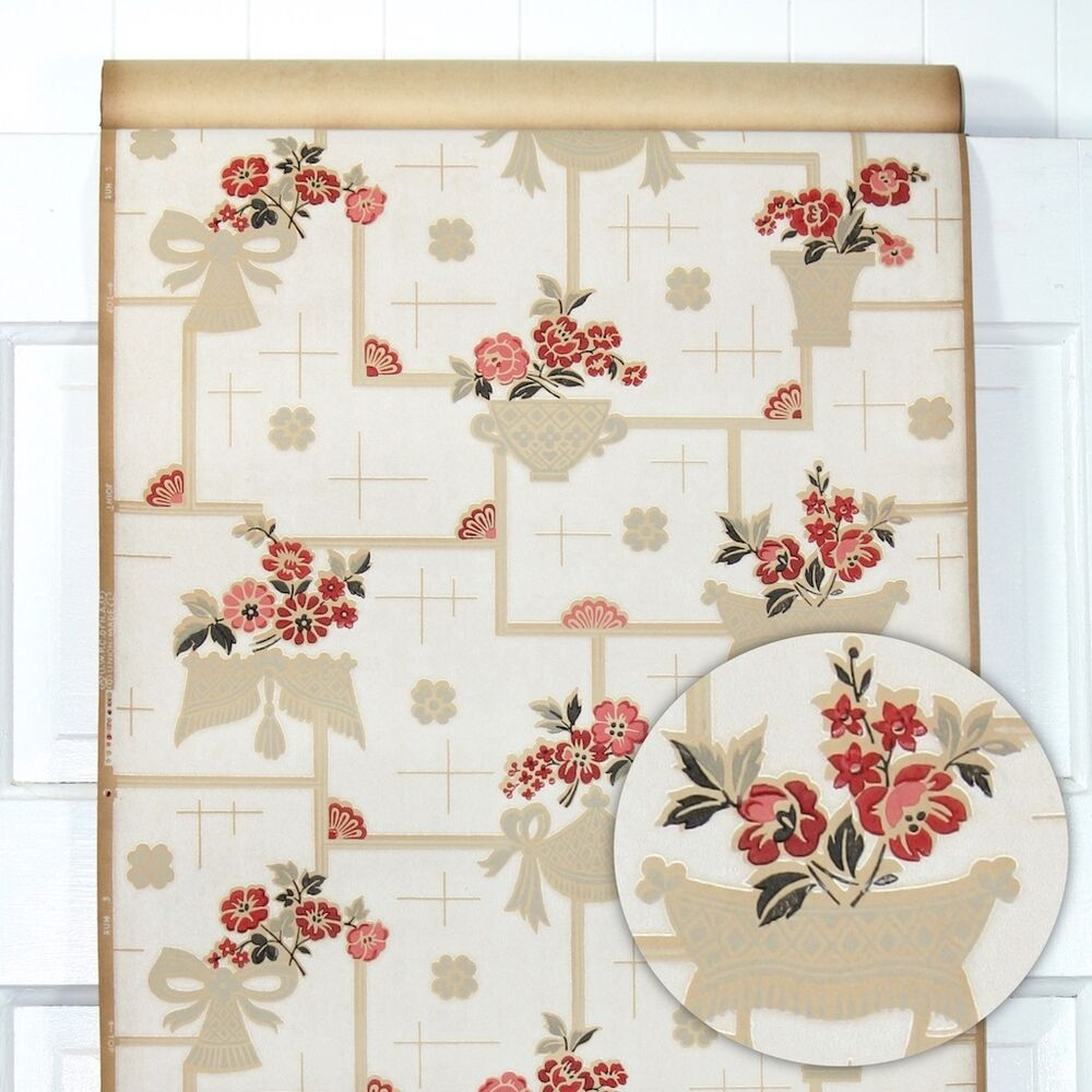 1930s Vintage Kitchen Wallpaper Red Tan And Black Floral