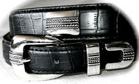 """Mens Leather BLACK Croco Silver CONCHO Belt SNAP OFF Buckle SM 30""""-32"""" x 1 1/4"""""""