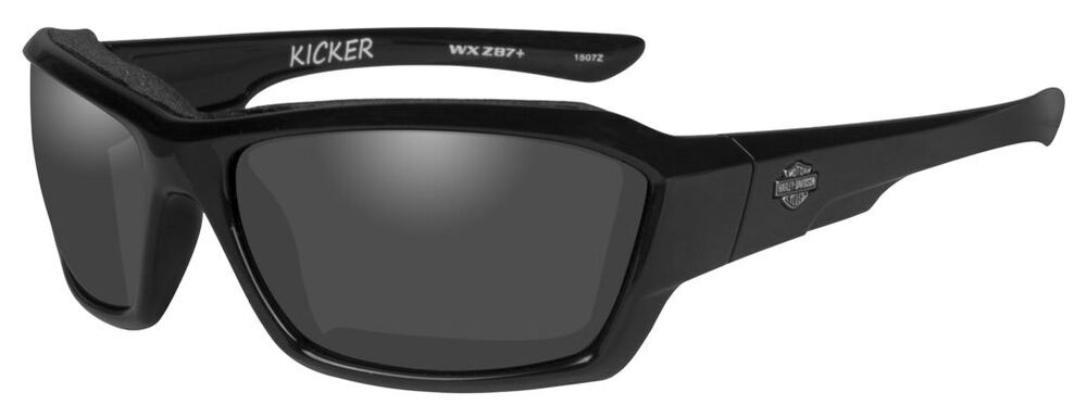 harley davidson men 39 s kicker sunglasses smoke gray lens black frame hakic01 712316948951 ebay. Black Bedroom Furniture Sets. Home Design Ideas