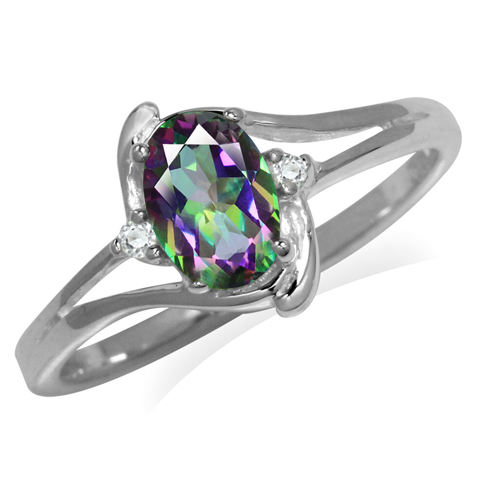Mystic Fire Topaz 925 Sterling Silver Engagement Ring