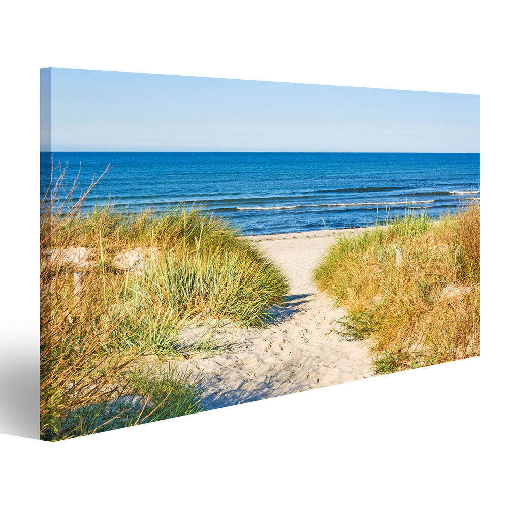 weg zum meer strand d nen nordsee bild auf leinwand poster axb 1k ebay. Black Bedroom Furniture Sets. Home Design Ideas