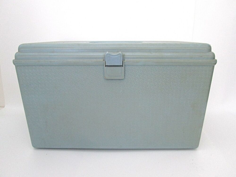 Vintage Blue Plastic Large Sewing Box With Trays And Lot