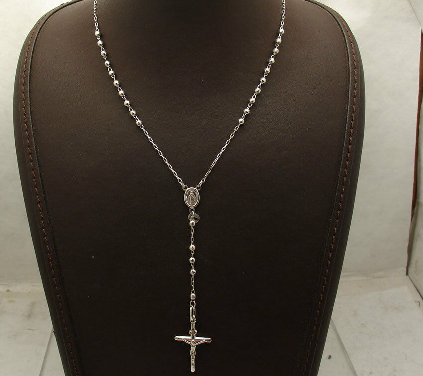 24 Quot 3mm Diamond Cut Rosary Chain Cross Crucifix Necklace Real 10k White Gold Ebay