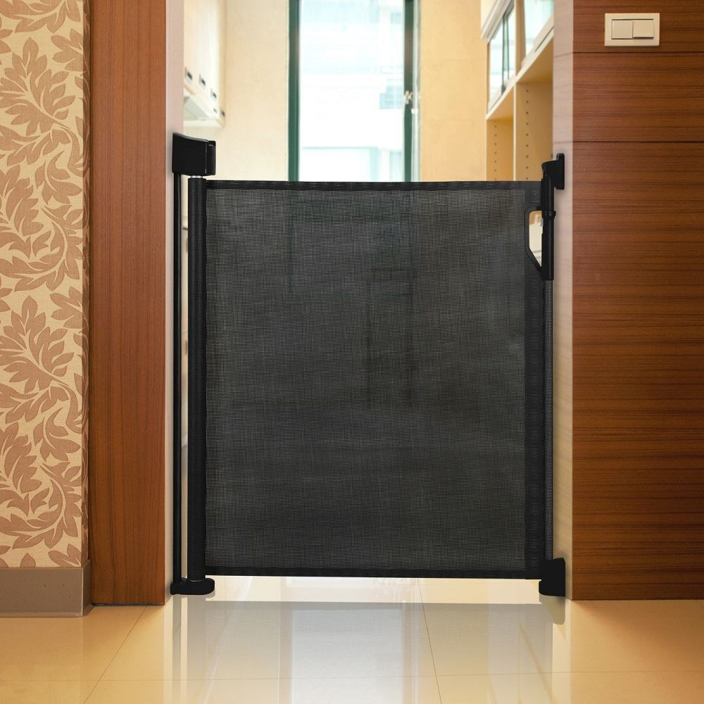safetots advanced retractable stair gate premium folding baby safety guard black 5060410784834