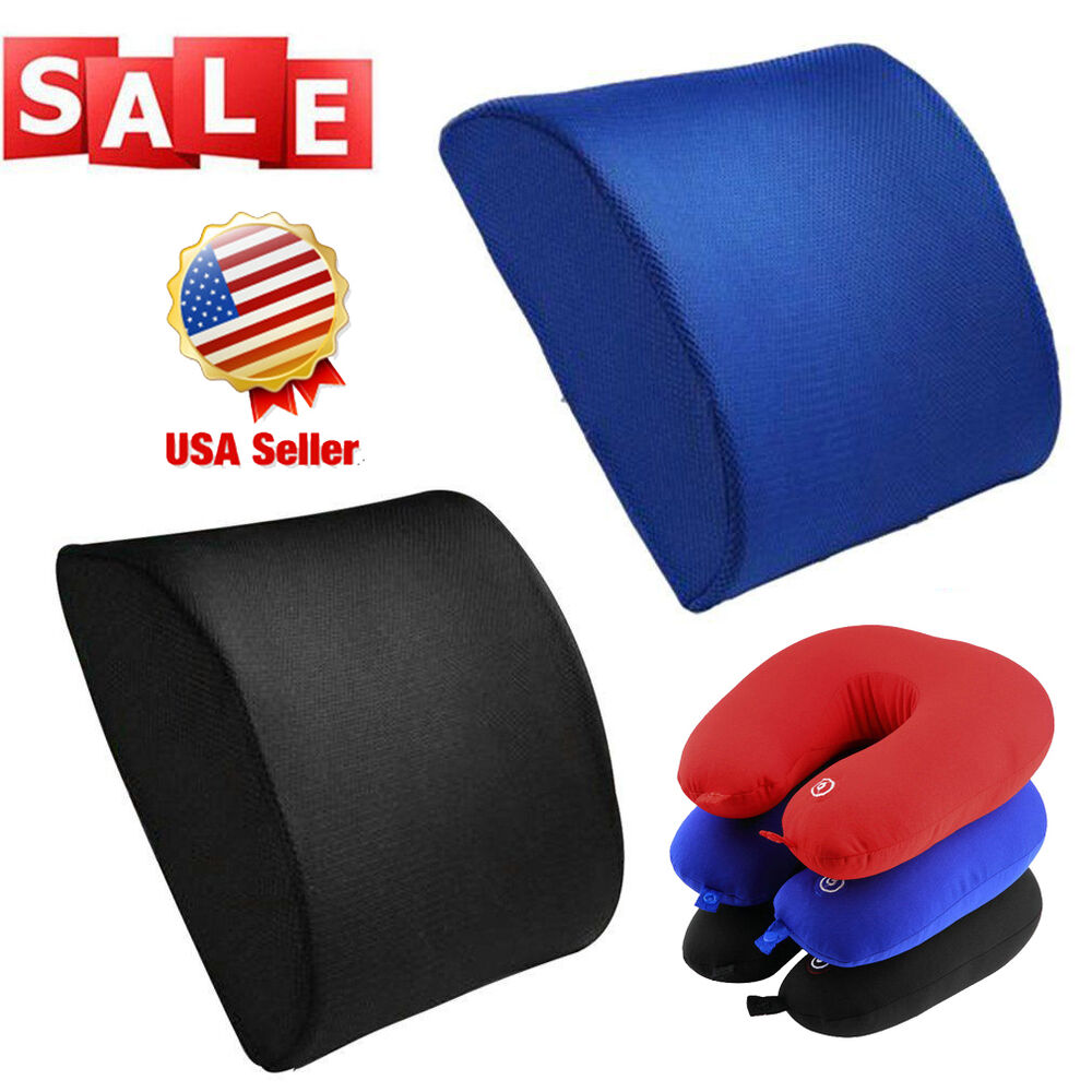 memory foam seat cushion lumbar back support pillow for office home chair car se ebay. Black Bedroom Furniture Sets. Home Design Ideas