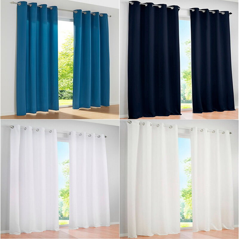 1 Pc Curtain And 1 Pc Tulle Peony Luxury Window Curtains: 1PC Grommet Blackout Curtains Eyelet Ring Panel Living
