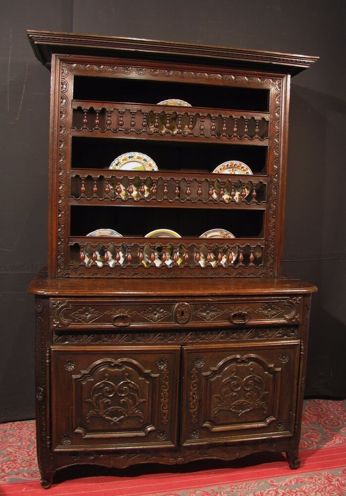 ancien buffet vaisselier breton en bois de ch taignier meuble 18 me ebay. Black Bedroom Furniture Sets. Home Design Ideas