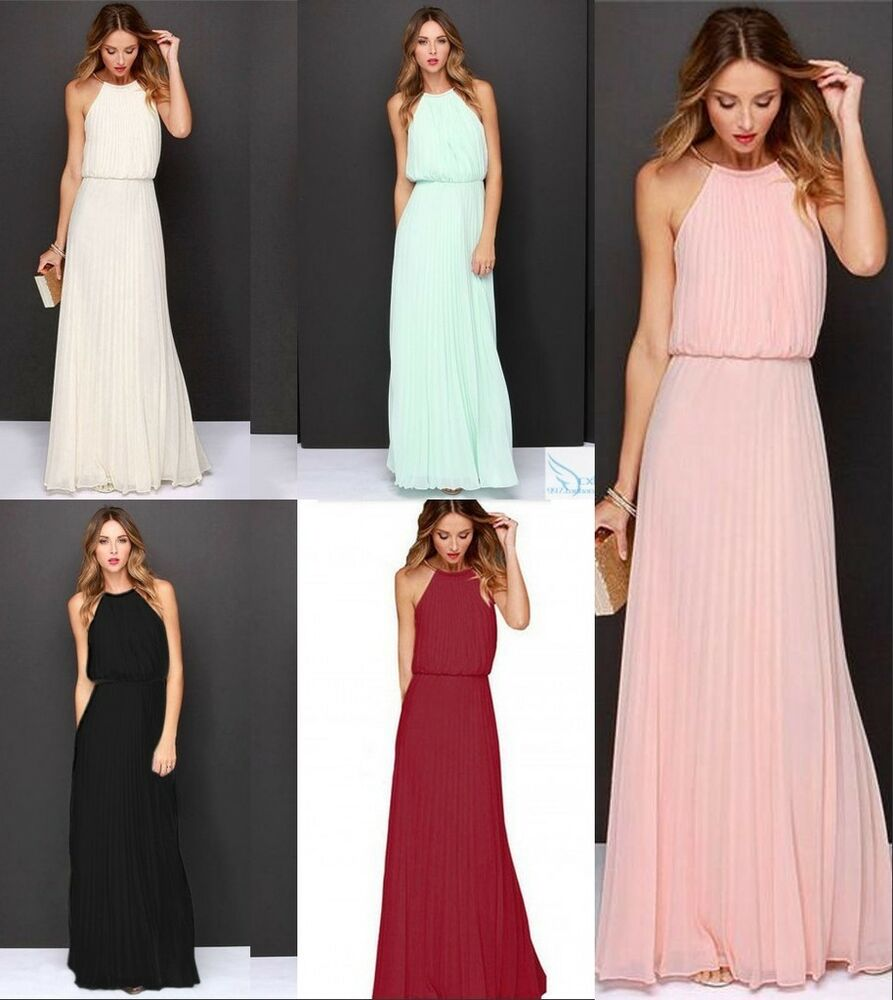 Uk womens formal long chiffon prom evening party for Formal long dresses for weddings