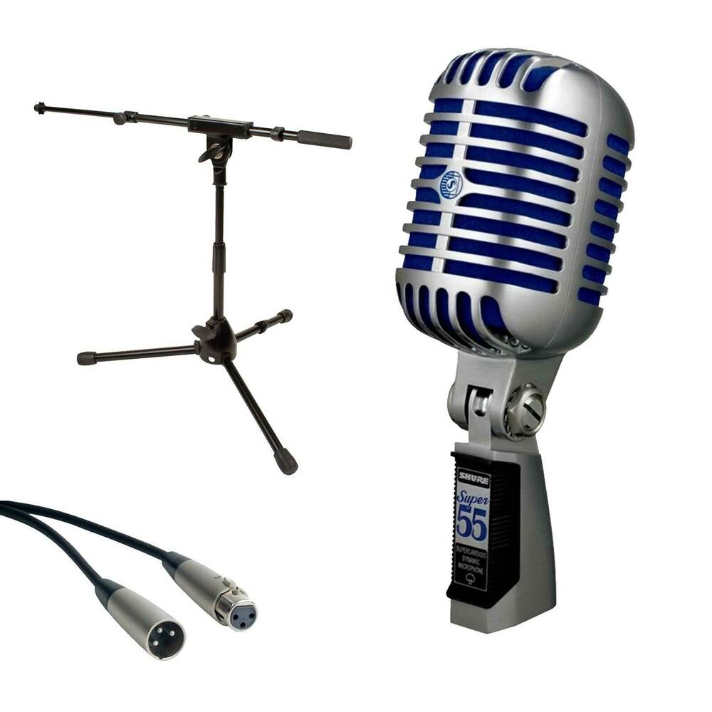 shure super 55 deluxe vocal microphone short mic stand with telescoping boom ebay. Black Bedroom Furniture Sets. Home Design Ideas