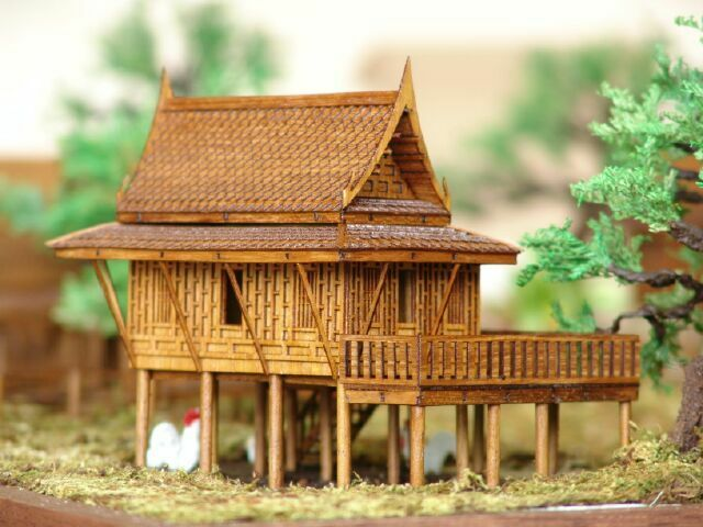 4 x5 x5 traditional cultural teak wood thai house model for How to build a wooden home