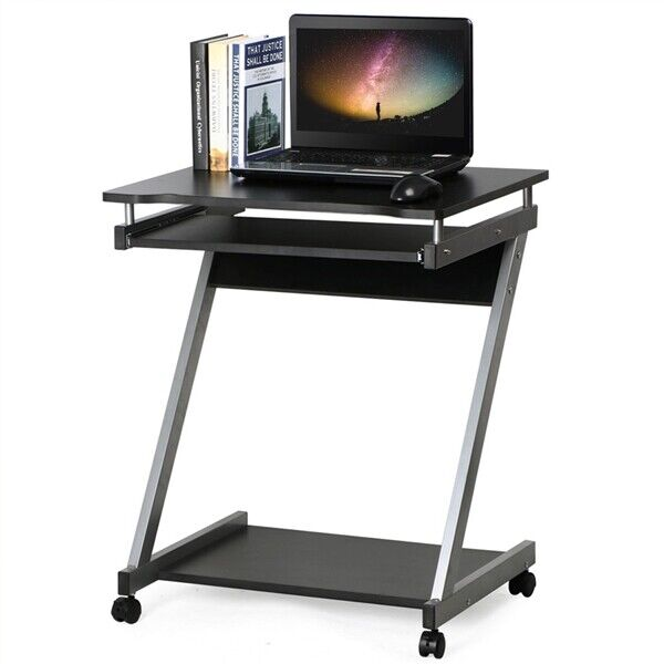 Computer Desk Z Shaped With Keyboard Shelf Home Office Study Pc Table Furniture Ebay