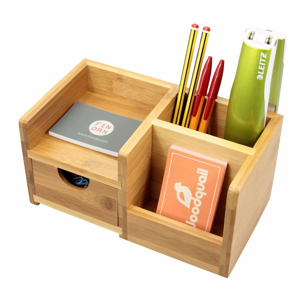 Bamboo Desk Organiser, Pen Holder with Drawer Desk Tidy ...
