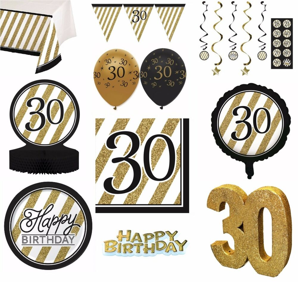 Black gold age 30 happy 30th birthday bday party items for 30 birthday decoration ideas