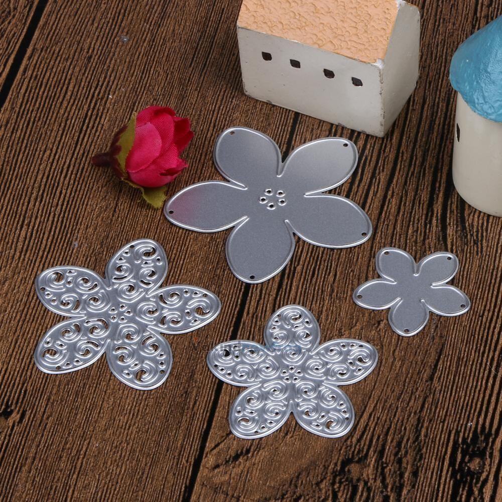4 pcs flowers cutting dies stencils scrapbooking for Decorative flowers for crafts