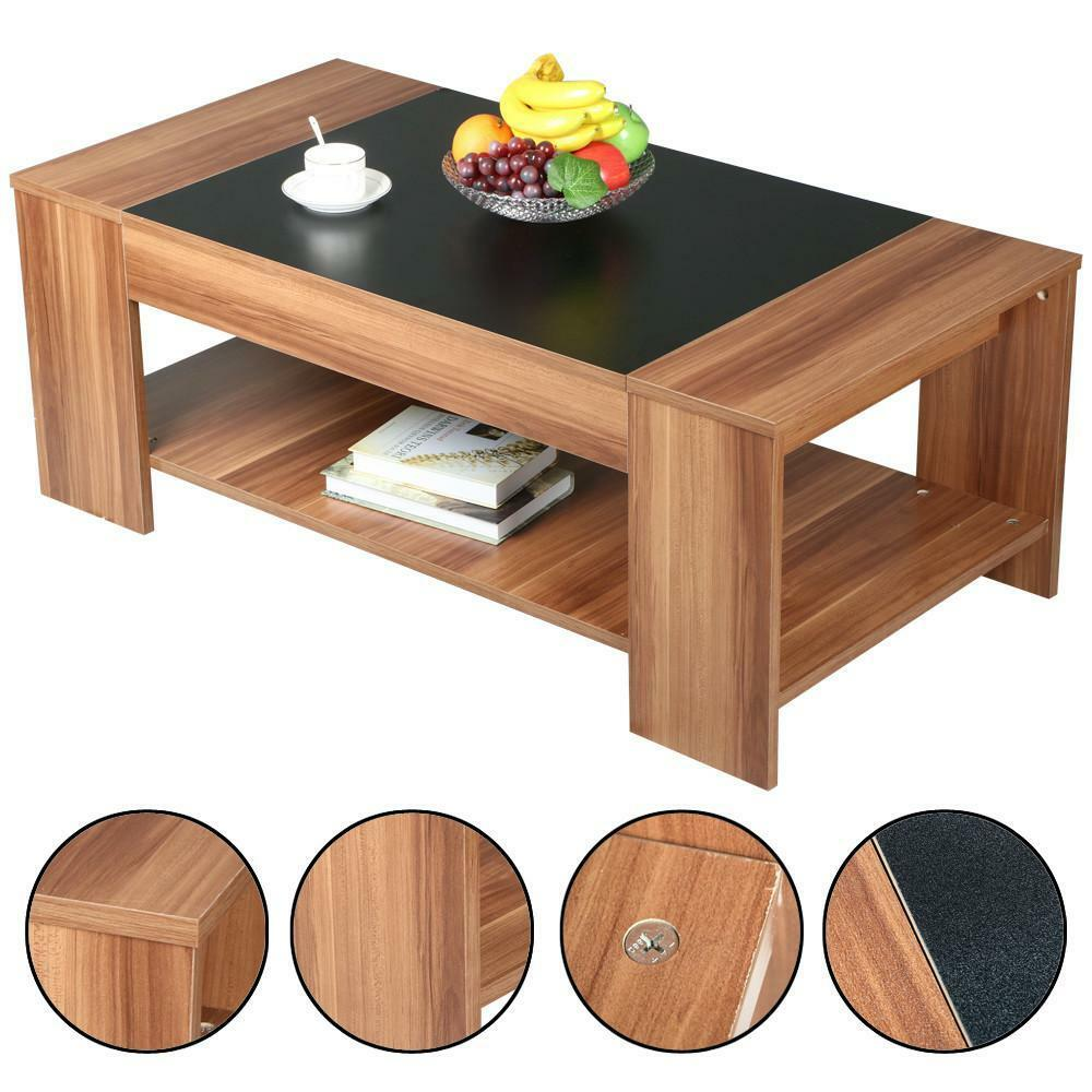 Modern 2 tier wooden coffee tea table living room cocktail for Cocktail tables diy