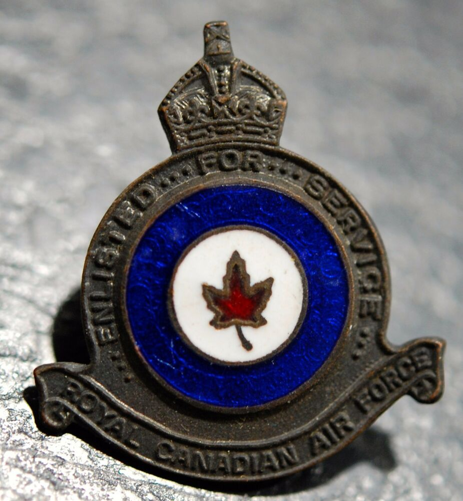 R.C.A.F. Enlisted for Service lapel pin badge (bronze & Red/White Blue  enamel)   eBay