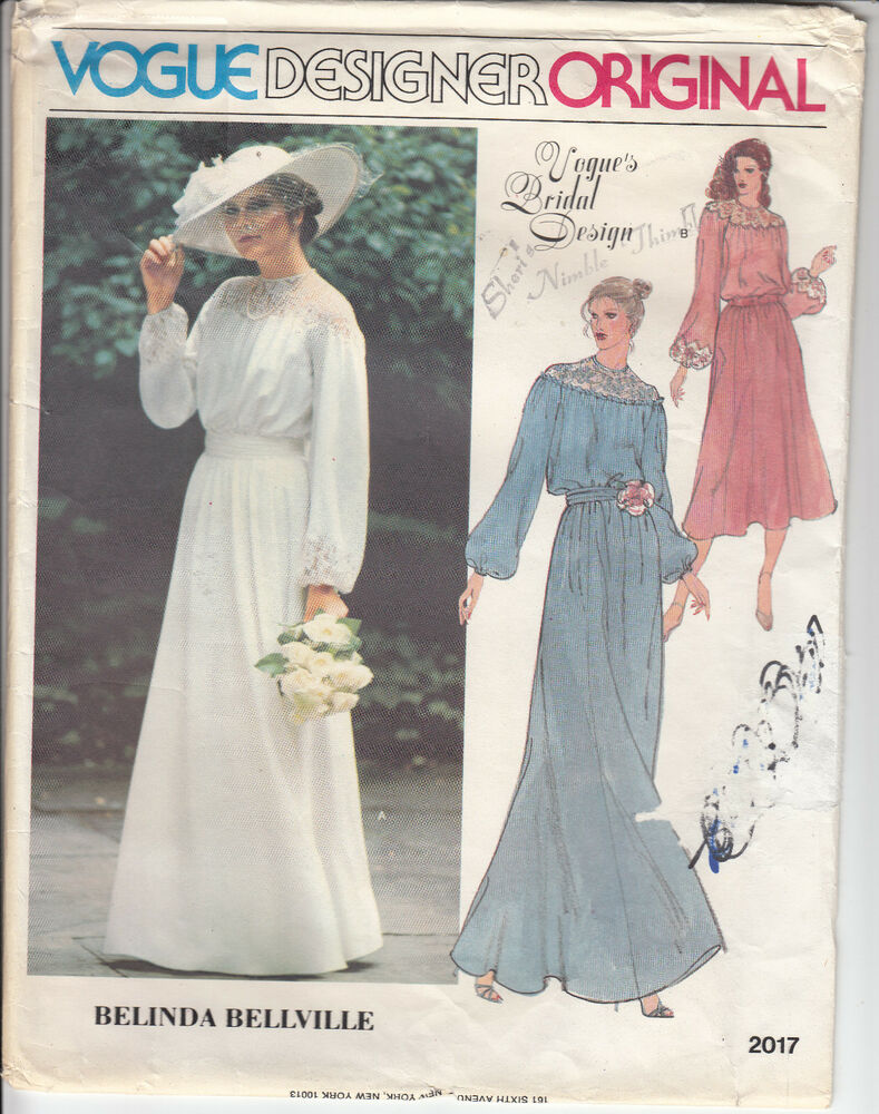 bridal wedding gown dress mob vintage vogue sewing pattern