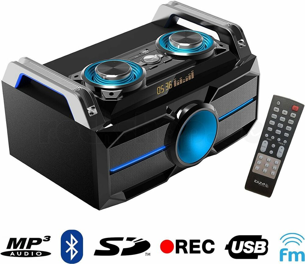 ibiza soundbox system splbox100 stereo anlage lautsprecher usb bluetooth 120w ebay. Black Bedroom Furniture Sets. Home Design Ideas